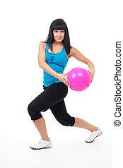 vrouw, oefening, met, bal