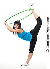 vrouw, oefening, met, hoepel