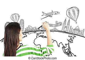 vrouw, ongeveer, reizen, of, schrijvende , aziaat, wereld, droom, tekening