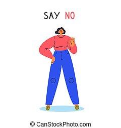 vrouw, ontkenning, nee, hand., uitdrukken, haar