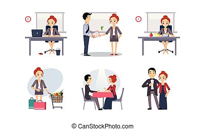 vrouw ontspannend, activiteiten, zakelijk, alledaags, achtergrond., werkende , vector, gevarieerd, illustratie, routine, witte
