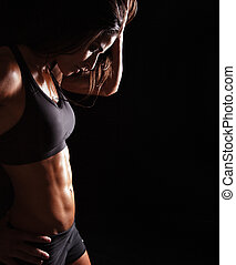 vrouw ontspannend, haar, workout, na, jonge, sporten