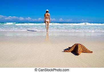 vrouw, ontspant, strand