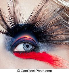 vrouw oog, macro, makeup, black , strand, vogel, zonopkomst