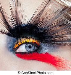 vrouw oog, macro, makeup, boompje, black , palm strand, vogel