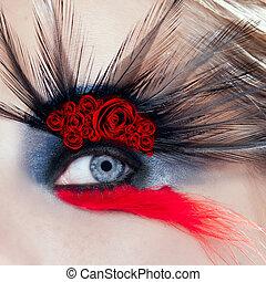 vrouw oog, macro, makeup, rozen, zwarte vogel, rood