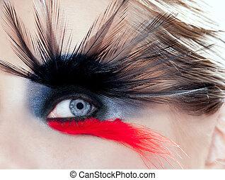 vrouw oog, macro, makeup, zwarte vogel