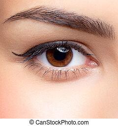vrouw oog, make-up