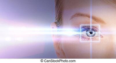 vrouw oog, met, laser, correctie, frame