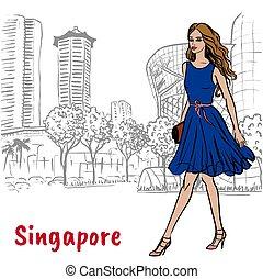 vrouw, op, boomgaard straat, in, singapore