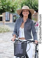 vrouw, op, fiets