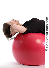 vrouw, op, fitheid bal, 913