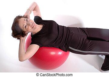 vrouw, op, fitheid bal, 917