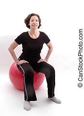 vrouw, op, fitheid bal, 938
