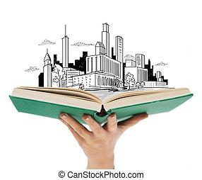 vrouw, op, hand, boek, vasthoudende sluit, open