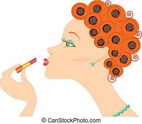 vrouw, op, .make, verticaal, cosmetic., lippenstift