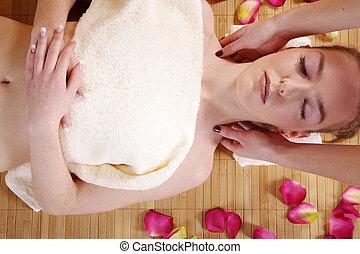 vrouw, op, masseren