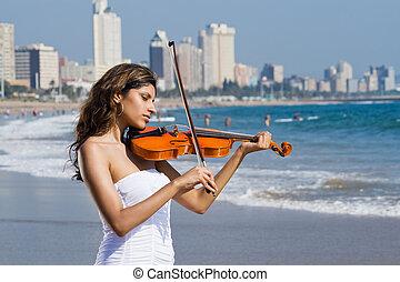 vrouw, op, strand