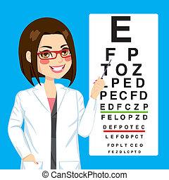 vrouw, opticien, wijzende