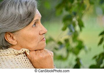vrouw, oud, aardig, verdrietige