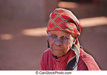 vrouw, oud, afrikaan