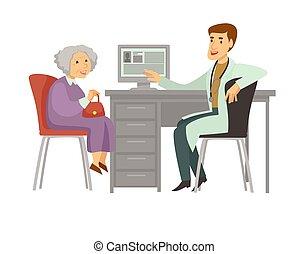 vrouw, oud, arts bezoek, vector, patiënt, spotprent, pictogram