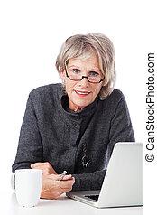 vrouw, oud, bril