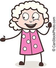 vrouw, oud, gesturing, opgewekte, vector, spotprent