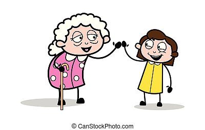 vrouw, oud, geven, -, illustratie, vector, oma, hifi,...