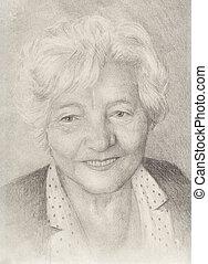 vrouw, oud, gezicht, draving, grootmoeder., verticaal, het glimlachen