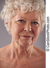 vrouw, oud, gezicht