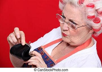 vrouw, oud, haar, geld, buidel, het kijken