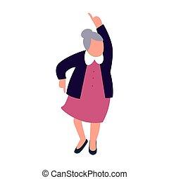 vrouw, oud, het dansen., dans, character., senior, dame, vrolijke