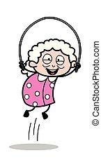 vrouw, oud, -, illustratie, spelend, koord, het overslaan, vector, oma, spotprent