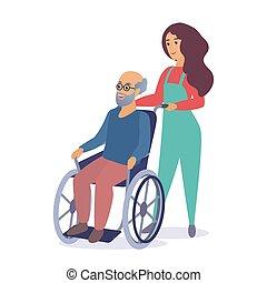 vrouw, oud, illustration., strolling, wheelchair, arbeider, jonge, vector, sociaal, senior, spotprent, man