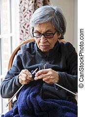 vrouw, oud, indiër