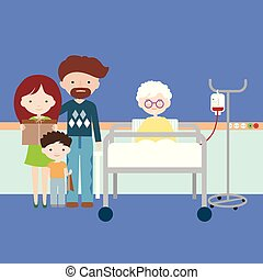 vrouw, oud, kleinkinderen, gezin, voeding, ziekenhuis, of, infuus, kunstmatig, intravenous, grootmoeder, bezoek, vector, bed, hebben, kinderen, het liggen