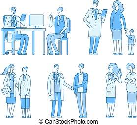 vrouw, oud, lineair, arts, patients., artsen, bezoek, klesten, vector, clinic., karakters, gezondheidszorg, patiënt, verpleegkundige, man, senior, behandeling