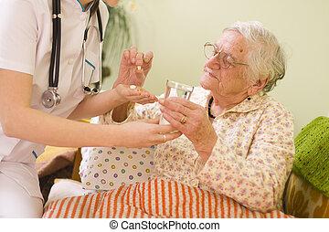 vrouw, oud, medicatie