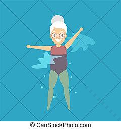 vrouw, oud, oefening, pool, zwemmen
