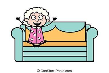vrouw, oud, -, op, illustratie, bemoedigen, vector, oma, spotprent