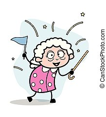 vrouw, oud, -, rennende , illustratie, vlag, vector, oma, spotprent