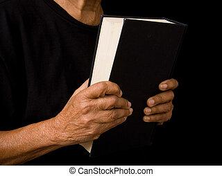 vrouw, oud, vasthouden, bijbel