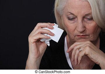 vrouw, oud, verdrietige