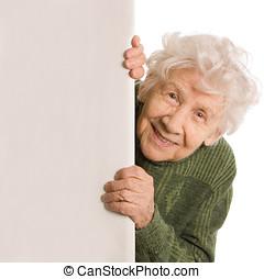 vrouw, oud, vrijstaand, spionnen, achtergrond, witte