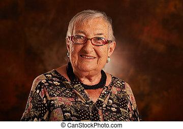 vrouw, oud, vrolijke