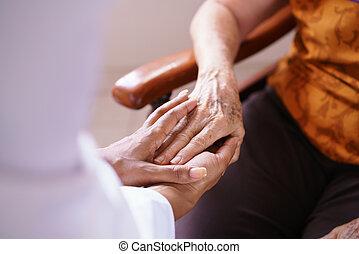 vrouw, oude mensen, arts, vising, thuis, senior