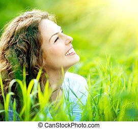 vrouw, outdoors., genieten, jonge, natuur, mooi