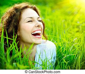 vrouw, outdoors., genieten, jonge, natuur