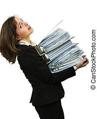 vrouw, overbelaste, archief, zakelijk